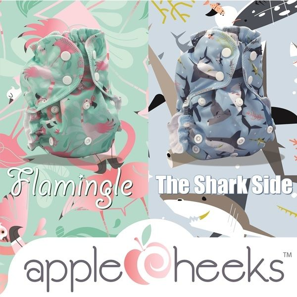 applecheeks cloth diapers - flamingle & sharkside