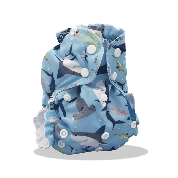 AppleCheeks one size diaper cover - Shark Side