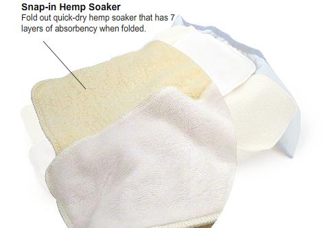 berryplush aio cloth diaper - hemp soaker