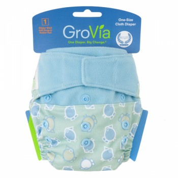 GroVia One Size Cloth Diaper Shell Set - Blue Birds