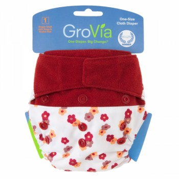 GroVia One Size Cloth Diaper Shell Set - Wildflower