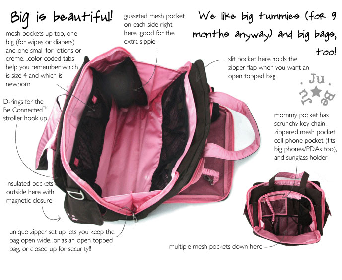 jujube diaper bag inside details