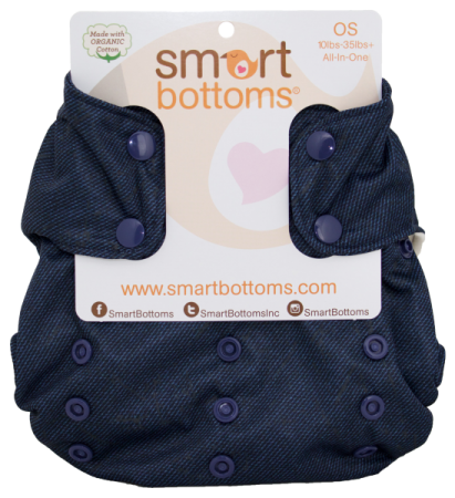 smart bottoms 3.1 organic one size all in one cloth diaper - denim 2.0
