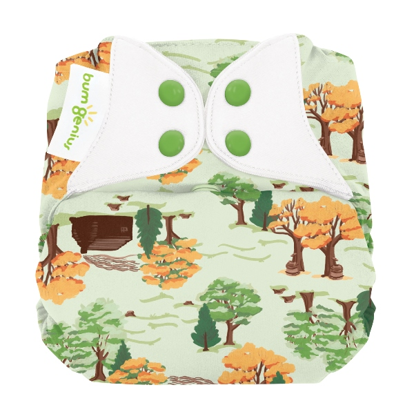 bumGenius elemental one size cloth diapers with snaps - big woods