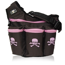 Diaper Dude Brown Pink Skull zip Diva - Specially Designed for Hip Moms