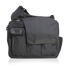 Diaper Dude Messenger II - Black Pinstripe