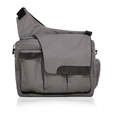 Diaper Dude Messenger II - Grey Pinstripe