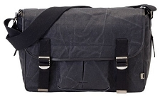 OiOi Black Waxed Canvas Satchel Diaper Bag