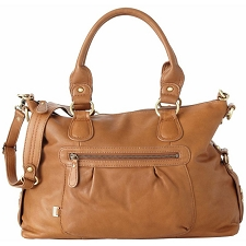 OiOi Tan Leather Slouch Tote Diaper Bag