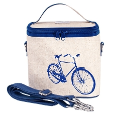 SoYoung Raw Linen Small Cooler Bag - Blue Bicycle