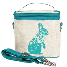 SoYoung Raw Linen Small Cooler Bag - Aqua Bunny