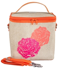 SoYoung Raw Linen Large Cooler Bag - Neon Orange/Pink Peonies