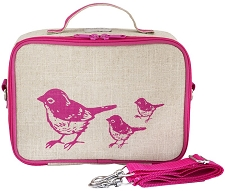 SoYoung Raw Linen Lunch Box - Pink Birds