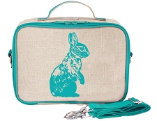 SoYoung Raw Linen Lunch Box - Aqua Bunny