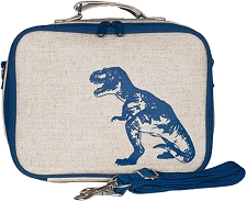 SoYoung Raw Linen Lunch Box - Blue Dino