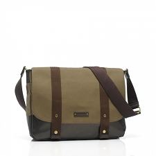 StorkSak Aubrey Diaper Bag - Khaki/Chocolate