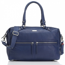 StorkSak Caroline Diaper Bag - Leather Navy