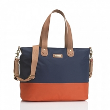 StorkSak Tote Diaper Bag - Navy / Orange
