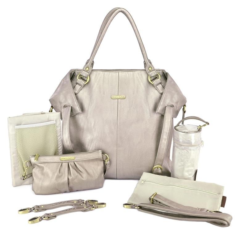timi leslie charlie 7 piece diaper bag set pewter. Black Bedroom Furniture Sets. Home Design Ideas