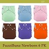 FuzziBunz Perfect Size X-Small Diaper for Newborns - 6 Pack