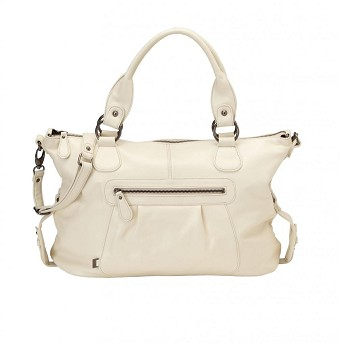 OiOi Ivory shrunken Leather Slouch Tote Diaper Bag