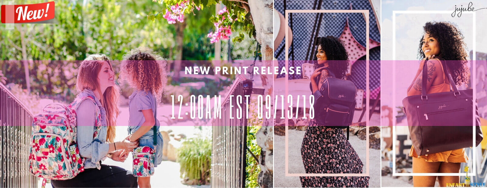 ju ju be launch forget me not, plum, and noir rose gold
