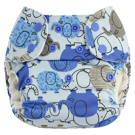 blueberry one size diaper - blue elephant