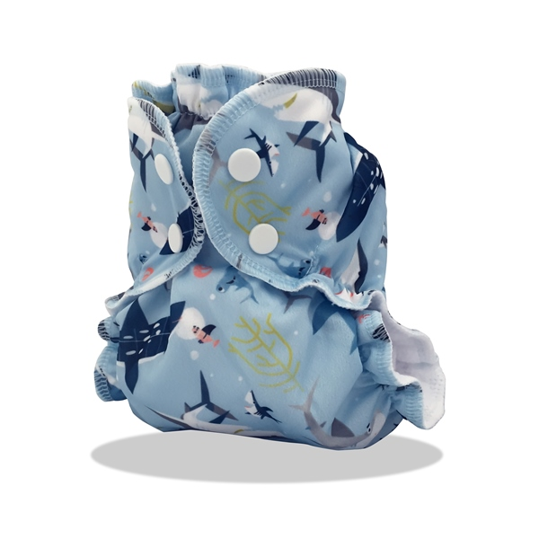 applecheeks envelop cloth diaper cover - SHARK SIDE