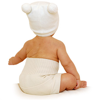 kissaluvs wool diaper cover on baby