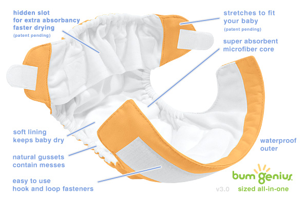 bumGenius 3.0 DELUXE All-In-One Cloth Diaper open details