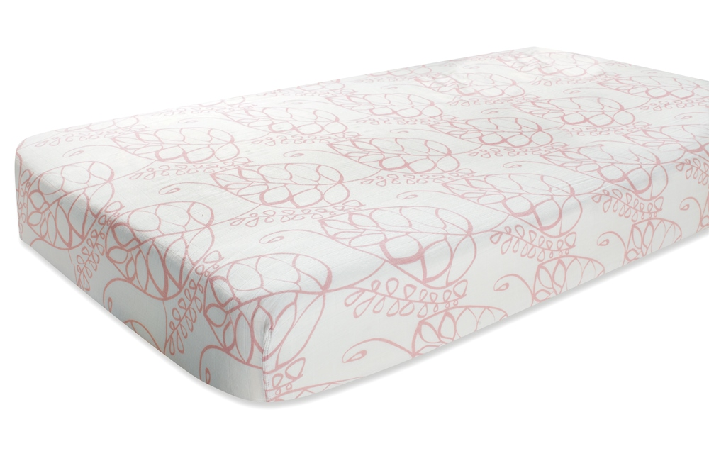 Aden and Anais Classic Crib Sheet - tranquility leafy