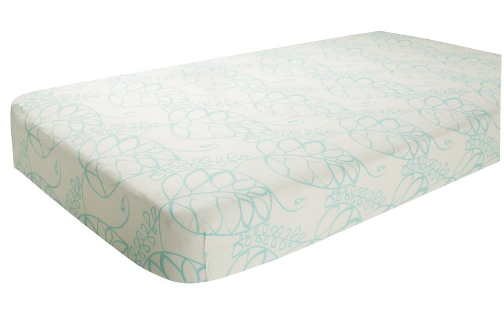 Aden and Anais Classic Crib Sheet - azure leafy
