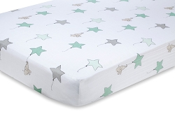 Aden and Anais Classic Crib Sheet - up up and away elephant