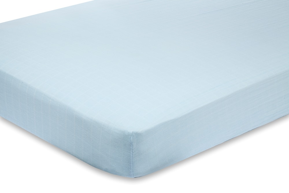 Aden and Anais Classic Crib Sheet - liam the brave solid blue