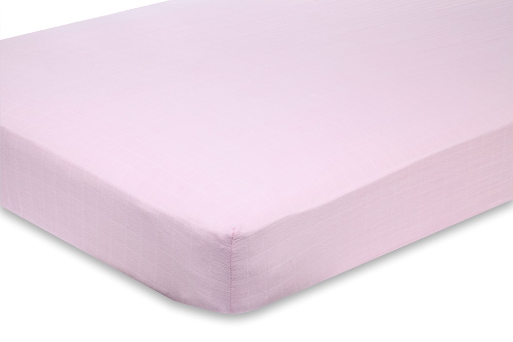 Aden and Anais Classic Crib Sheet - for the birds solid pink