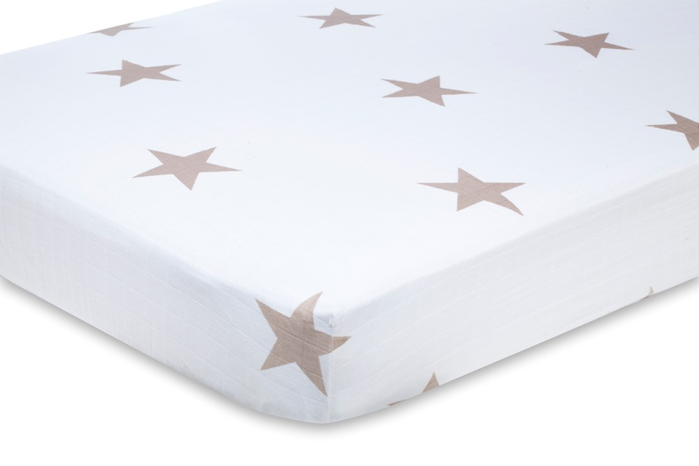 Aden and Anais Classic Crib Sheet - super star scout fawn stars