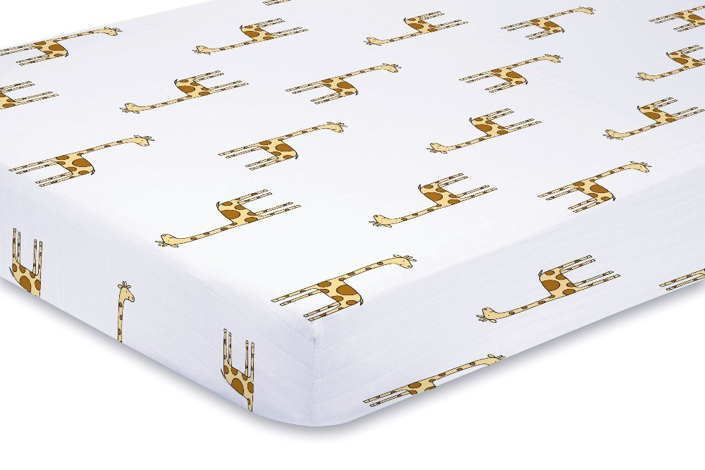 Aden and Anais Classic Crib Sheet - jungle jam giraffe