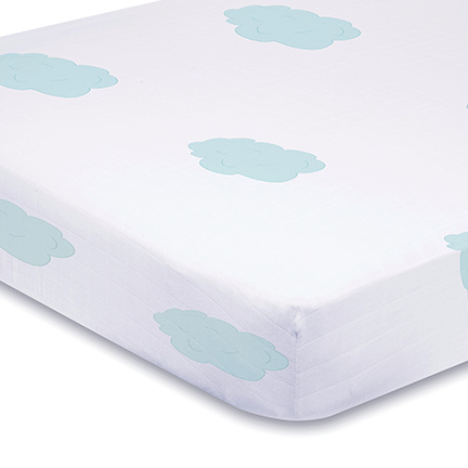 Aden and Anais organic Crib Sheet -  sky blue