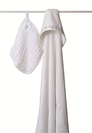 aden and anais towel and washcloth set - white