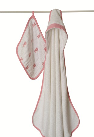 aden and anais towel and washcloth set - pink