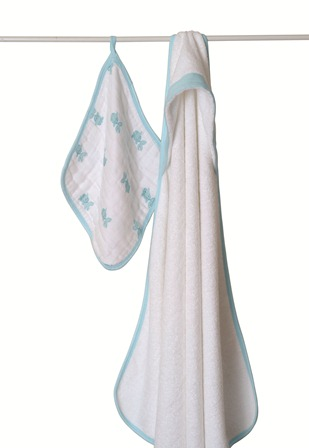 aden and anais towel and washcloth set - blue
