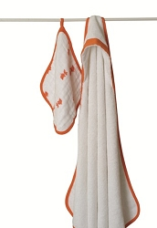 aden and anais towel and washcloth set - orange