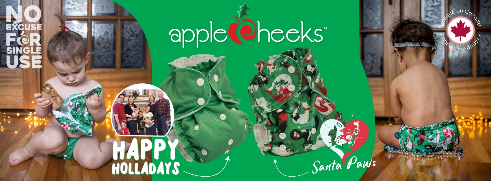 applecheeks cloth diapers Canada - christmas solds and santa paws