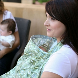 bebe au lait nursing cover in use - parkside