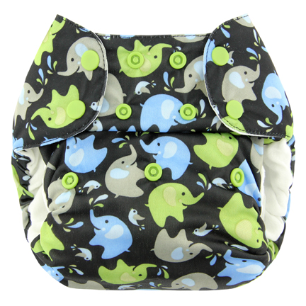 blueberry one size diaper - elephant