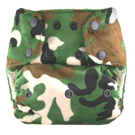 blueberry one size diaper - green camo