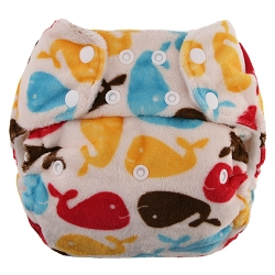 blueberry one size diaper - whales
