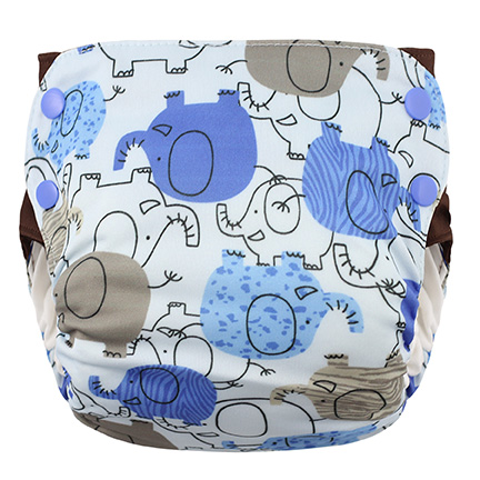 Blueberry Side Snap Simplex 2.0 All In One Diaper -  Blue Elephant