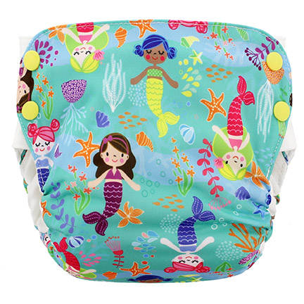 Blueberry Side Snap Simplex 2.0 All In One Diaper - Mermaids