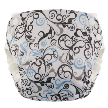 Blueberry Side Snap Simplex 2.0 All In One Diaper - Swirls